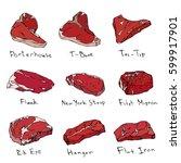 steaks realistic set vector... | Shutterstock .eps vector #599917901