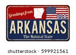 greetings from arkansas vintage ... | Shutterstock .eps vector #599921561
