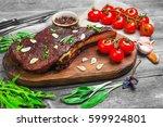 t bone steak cow meat rib eye...   Shutterstock . vector #599924801
