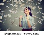 portrait happy woman exults... | Shutterstock . vector #599925551