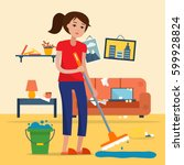woman cleaning dirty room with... | Shutterstock .eps vector #599928824