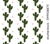 cactus seamless pattern vector... | Shutterstock .eps vector #599928875
