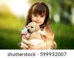 little girl with a golden... | Shutterstock . vector #599932007