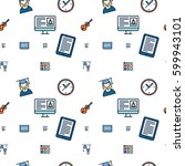 seamless icon pattern... | Shutterstock .eps vector #599943101