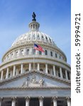 Stock photo us national flag flying in front of us capitol building in washington dc 59994721