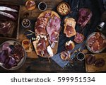 tapas selection. a cutting... | Shutterstock . vector #599951534