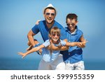 father with children having fun.... | Shutterstock . vector #599955359
