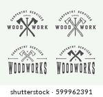 set of vintage carpentry ... | Shutterstock .eps vector #599962391