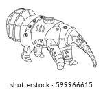 steam punk style anteater.... | Shutterstock .eps vector #599966615