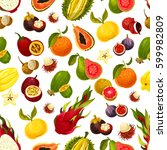 seamless exotic fruits pattern. ... | Shutterstock .eps vector #599982809