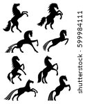 Horses Icons Or Silhouettes Of...