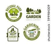 eco park or green garden vector ... | Shutterstock .eps vector #599984309