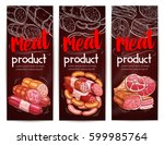 butchery banners for meat and... | Shutterstock .eps vector #599985764