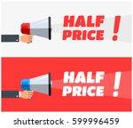 half price megaphone banners | Shutterstock .eps vector #599996459