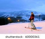 Evening On Mountain Skiing