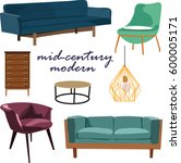 retro furniture collection set... | Shutterstock .eps vector #600005171