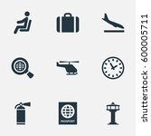 Set Of 9 Simple Travel Icons....