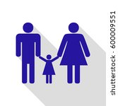 man  woman and kid sign. vector.... | Shutterstock .eps vector #600009551