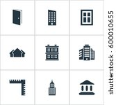 set of 9 simple construction... | Shutterstock . vector #600010655
