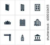 set of 9 simple construction... | Shutterstock . vector #600010655