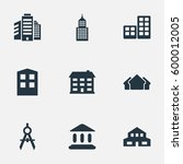 set of 9 simple structure icons.... | Shutterstock . vector #600012005