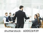 ceo speaks at the workshop... | Shutterstock . vector #600026939