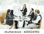 business team gives a... | Shutterstock . vector #600026981