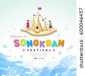 songkran festival of thailand...   Shutterstock .eps vector #600046457