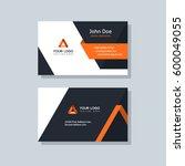 Modern business card template orange colors. Flat design vector abstract creative | Shutterstock vector #600049055