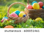 happy easter. painted easter... | Shutterstock . vector #600051461