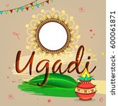 happy ugadi  vector... | Shutterstock .eps vector #600061871