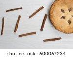 apple pie cake lying on wooden...   Shutterstock . vector #600062234