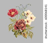 elegant bouquet flowers... | Shutterstock . vector #600068141