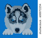 vector knitted dog pattern.... | Shutterstock .eps vector #600072254