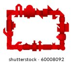 abstract red geometric 3d border | Shutterstock .eps vector #60008092