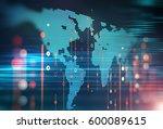 abstract  futuristic... | Shutterstock . vector #600089615