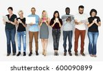 group of diverse people using... | Shutterstock . vector #600090899