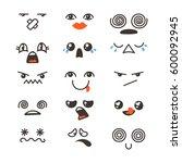 set of cute lovely kawaii... | Shutterstock .eps vector #600092945