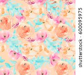 watercolor flower repeating... | Shutterstock . vector #600095975