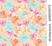 watercolor flower repeating... | Shutterstock . vector #600095975