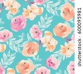 watercolor flower repeating... | Shutterstock . vector #600095981