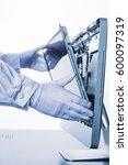 process of computer repair....   Shutterstock . vector #600097319