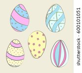 hand drawn color easter eggs.... | Shutterstock .eps vector #600101051