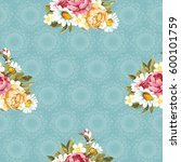 seamless floral pattern with... | Shutterstock .eps vector #600101759