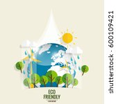 eco friendly. ecology concept... | Shutterstock .eps vector #600109421
