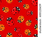 pattern with red ladybugs... | Shutterstock .eps vector #600120659