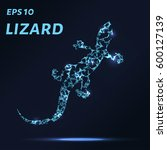 the lizard consists of points ... | Shutterstock .eps vector #600127139
