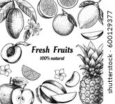 vector frame with fruits and... | Shutterstock .eps vector #600129377