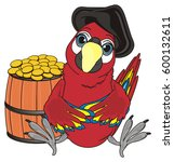 pirate parrot in black hat sit... | Shutterstock . vector #600132611