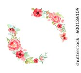 watercolor wreath. spring... | Shutterstock . vector #600136109